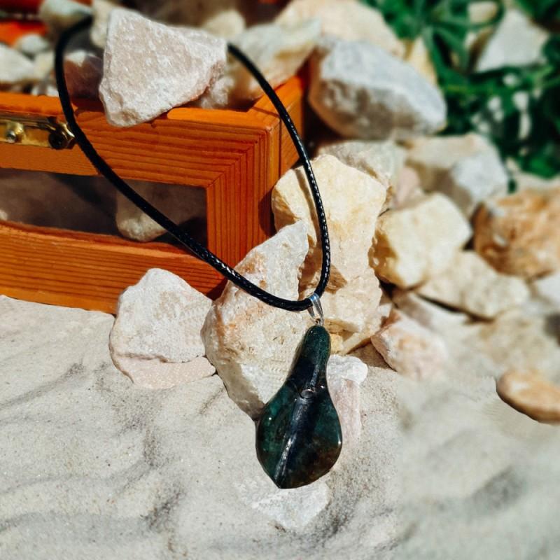 Ахат- Листо-Натурален Кристал - Аромамедальон