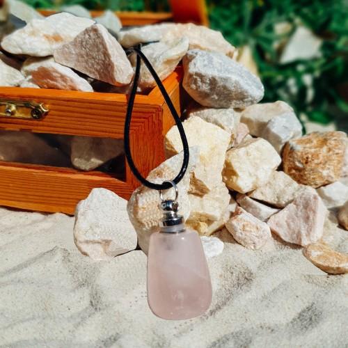 Розов кварц- Натурален Кристал - Аромамедальон